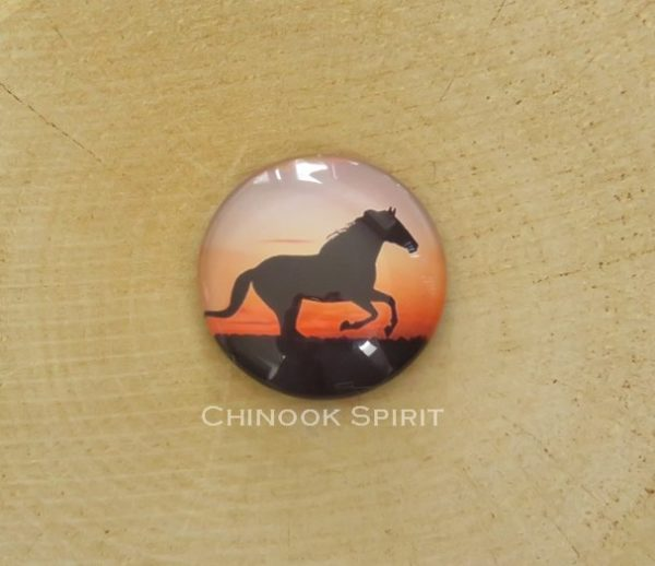 Aimant magnet cheval orange sur bois chinook spirit