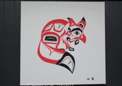 Toile peinture haida amerindien renard fox chinook spirit