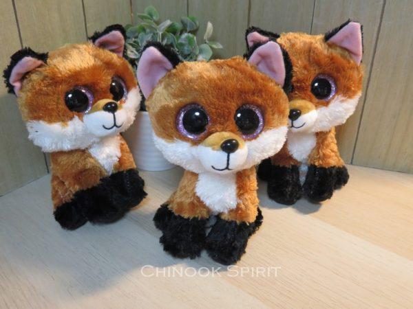 peluche ty fox renard gros yeux tout doux chinook spirit