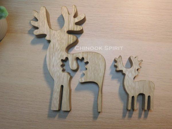 puzzle renne caribou bois double deux maman bebe chinook spirit