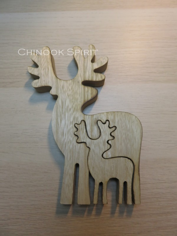 puzzle renne caribou bois double maman bebe chinook spirit