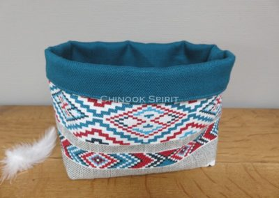 Panier sioux tissu amerindien bleu 1 vide poche chinook spirit