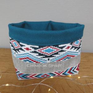Panier sioux tissu amerindien bleu 3 vide poche chinook spirit