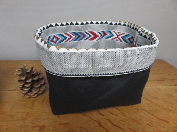 Panier sioux tissu amerindien noir 3 verso vide poche chinook spirit
