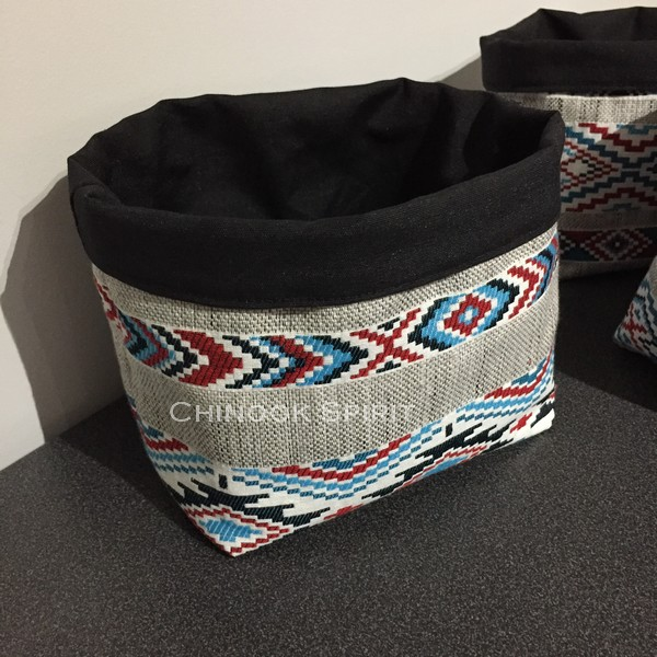 Panier sioux tissu amerindien noir 3 vide poche chinook spirit