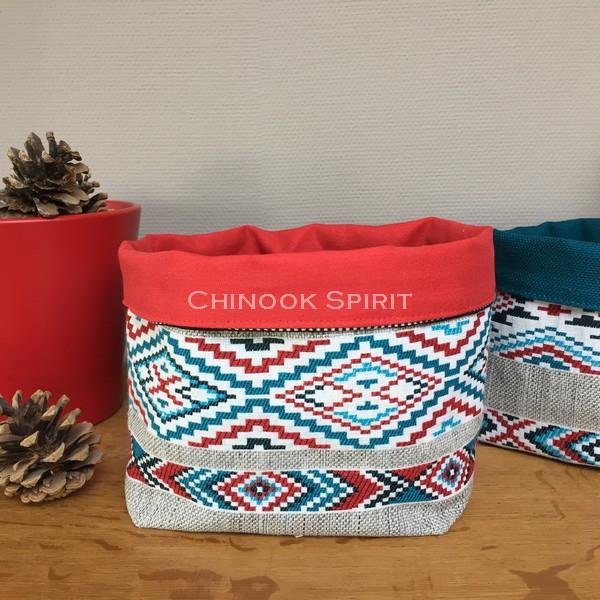 Panier sioux tissu amerindien rouge 1 bis vide poche chinook spirit