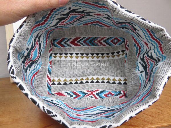 Panier sioux tissu amerindien rouge 1 interieur vide poche chinook spirit