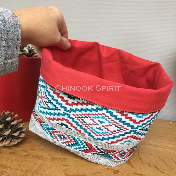 Panier sioux tissu amerindien rouge 1 ter vide poche chinook spirit