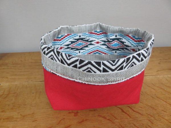 Panier sioux tissu amerindien rouge 1 verso vide poche chinook spirit