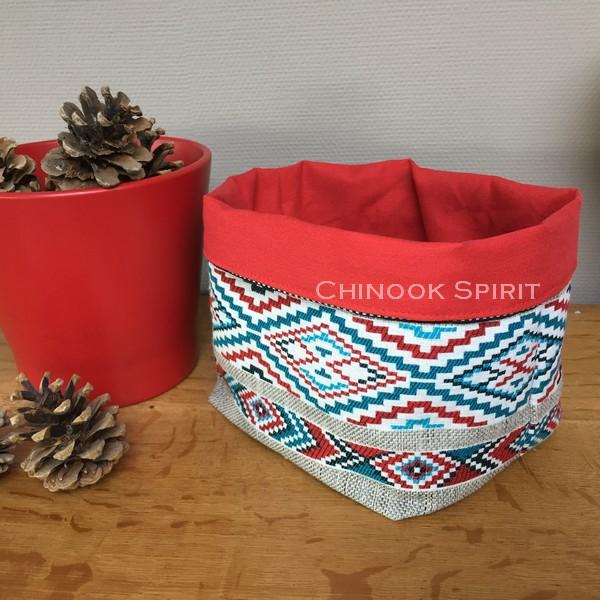 Panier sioux tissu amerindien rouge 1 vide poche chinook spirit
