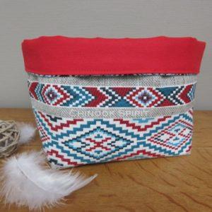 Panier sioux tissu amerindien rouge 2 vide poche chinook spirit