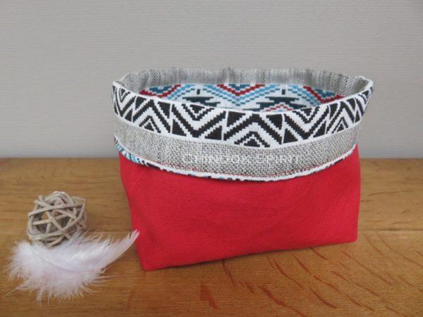 Panier sioux tissu amerindien rouge 3 verso vide poche chinook spirit