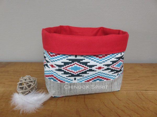 Panier sioux tissu amerindien rouge 3 vide poche chinook spirit