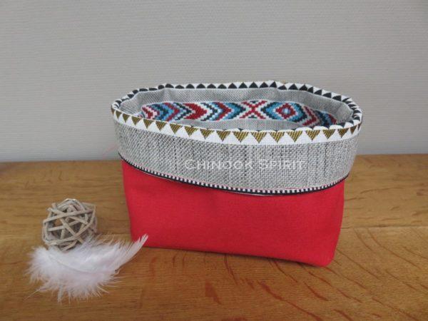 Panier sioux tissu amerindien rouge 4 verso vide poche chinook spirit