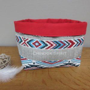 Panier sioux tissu amerindien rouge 4 vide poche chinook spirit