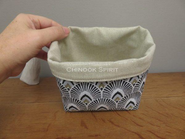 Panier tissu dore et noir eventail japonais rebord chinook spirit