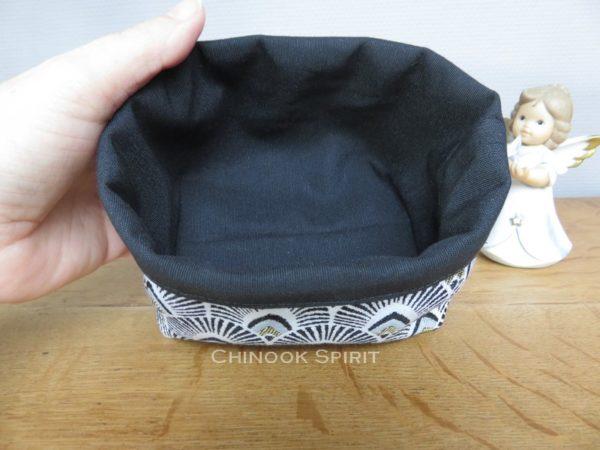 Panier tissu noir dore interieur eventail japonais chinook spirit