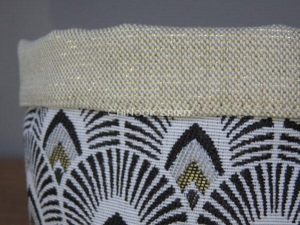 Panier tissu noir dore paillettes eventail japonais gigogne chinook spirit