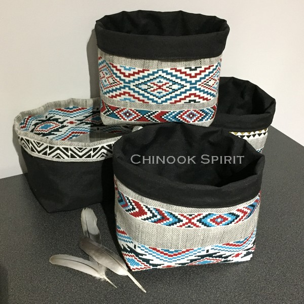 Paniers sioux tissu amerindien noirs vide poche chinook spirit