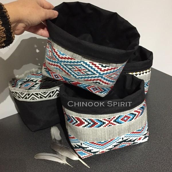 Paniers sioux tissu amerindien noirs vis vide poche chinook spirit