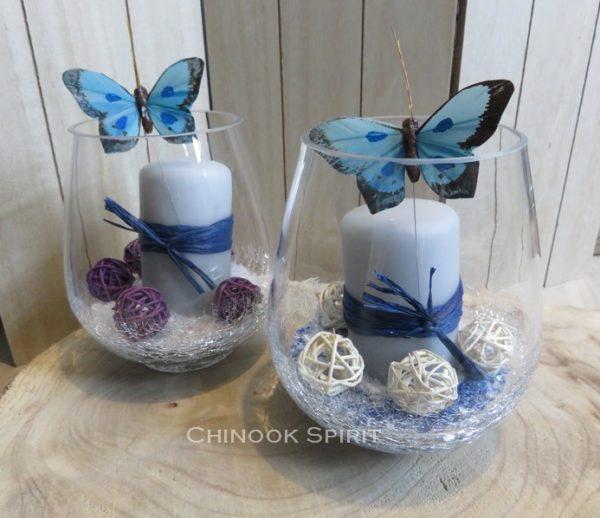 Photophore bougie grise papillon bleu sable beige craquele chinook spirit