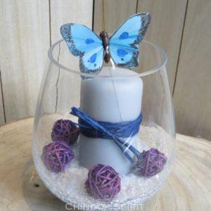 Photophore bougie grise papillon bleu sable beige violet craquele chinook spirit