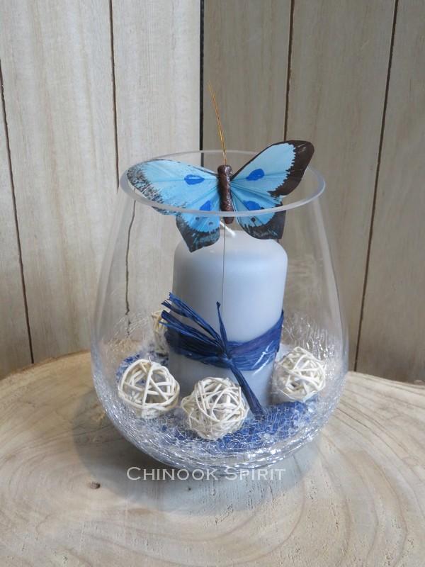Photophore bougie grise papillon bleu sable craquele chinook spirit