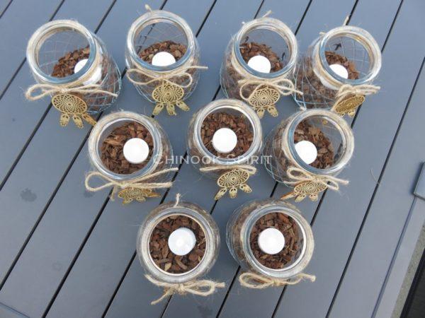 Photophore losange led attrape reves bois ecorces 3 chinook spirit