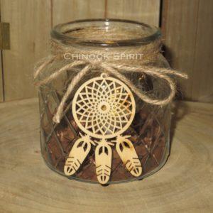 Photophore losange led attrape reves bois ecorces 5 chinook spirit