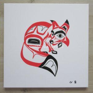 Tableau toile renard fox haida amerindien chinook spirit