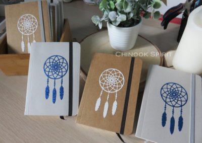 carnet attrape reves bleu gris kraft glitter chinook spirit