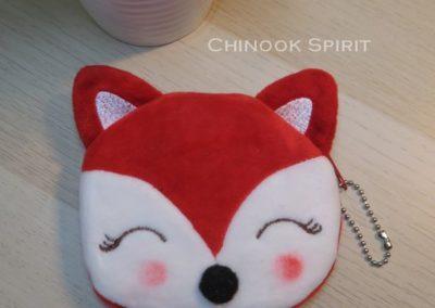 porte monnaie fax renard tete mignon orange enfant chinook spirit