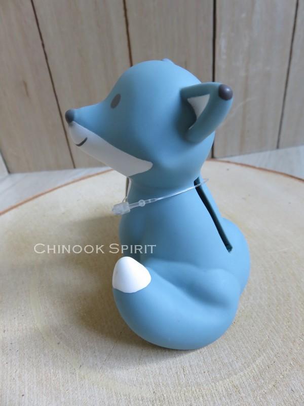 tirelire renard fox bleu enfant mignonne chinook spirit