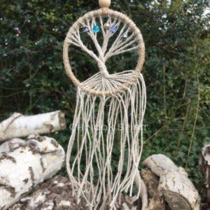 Arbre de vie 8 cm diametre fil de lin 5 perles chinook spirit 1922