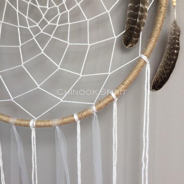 Attrape reves 73cm plumes aigle toile chinook spirit 5314