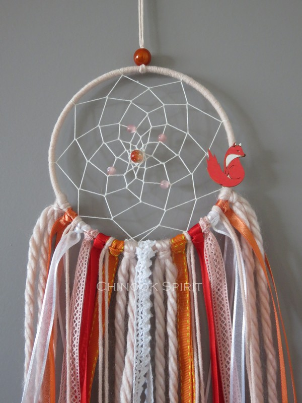 Attrape reves diametre 12cm orange renard fox chinook spirit 4572