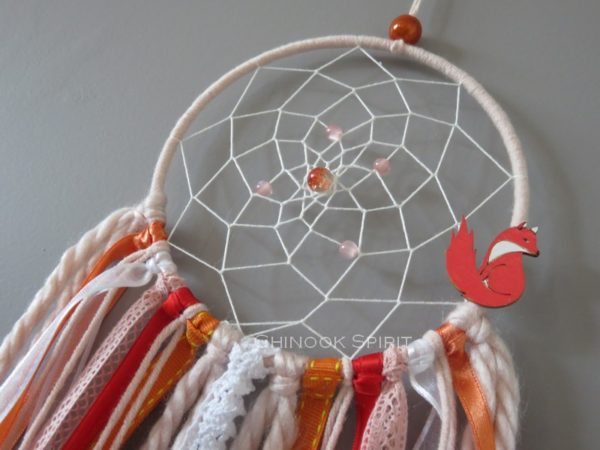Attrape reves diametre 12cm orange renard fox chinook spirit 4577