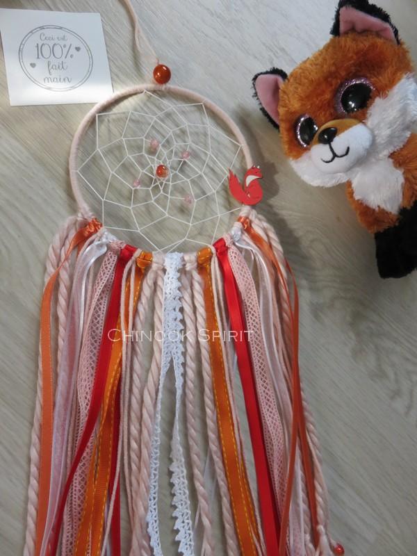 Attrape reves diametre 12cm orange renard fox chinook spirit 4585