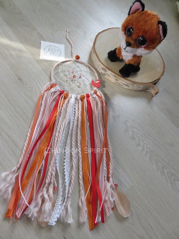 Attrape reves diametre 12cm orange renard fox chinook spirit 4586