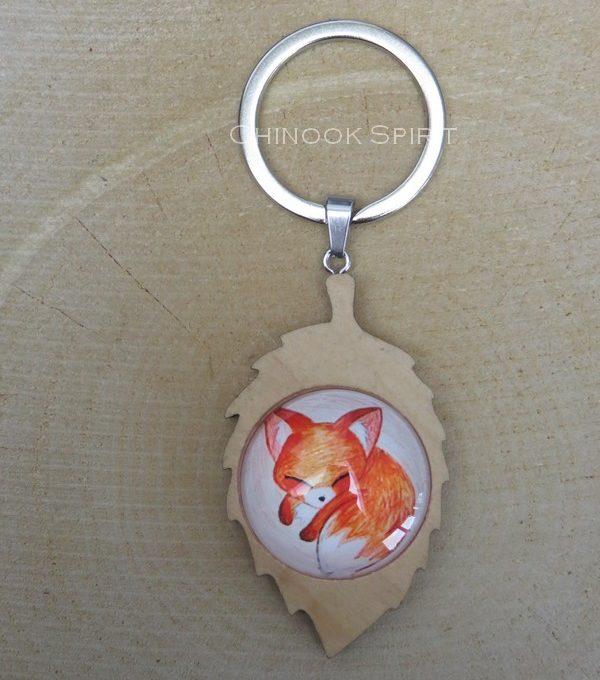Porte cle feuille bois renard fox chinook spirit 4427