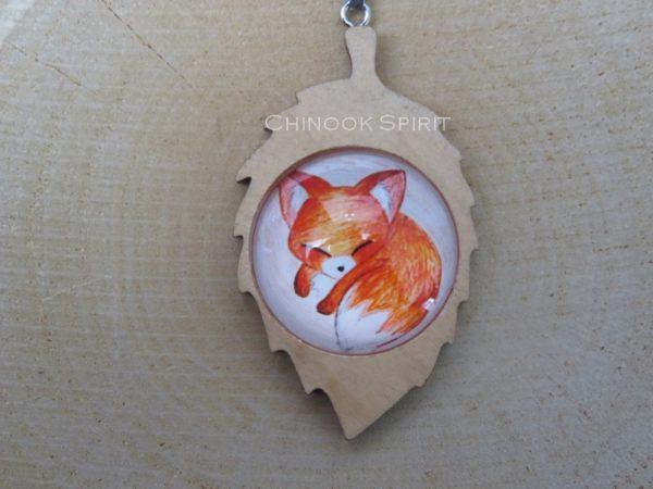 Porte cle feuille bois renard fox chinook spirit 4428