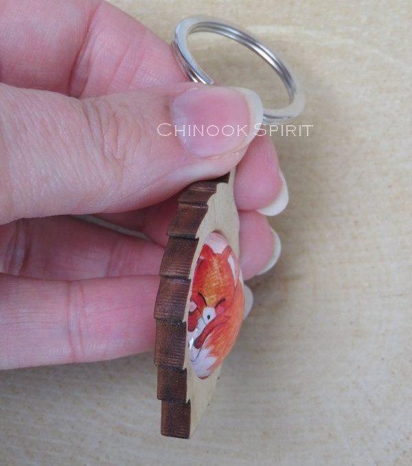 Porte cle feuille bois renard fox chinook spirit 4429