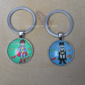 Porte cles metal cabochon super hero chinook spirit 4487