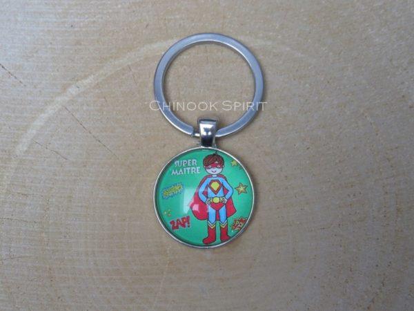 Porte cles metal cabochon super hero chinook spirit 4488