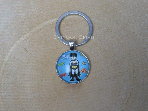 Porte cles metal cabochon super hero chinook spirit 4489