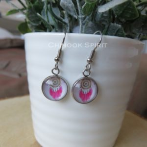 boucles oreilles attrape reves cabochon rose indien chinook spirit