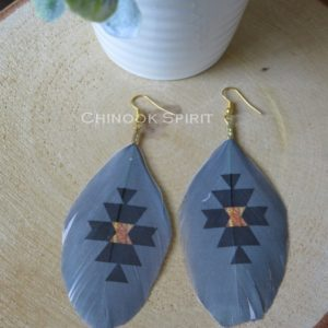 boucles oreilles plumes ethniques dore indien chinook spirit