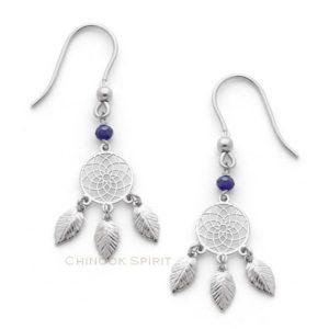 Boucles oreilles attrape reves argent et cristal Chinook spirit