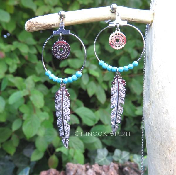 Boucles oreilles creoles acier et turquoise Chinook spirit 4912