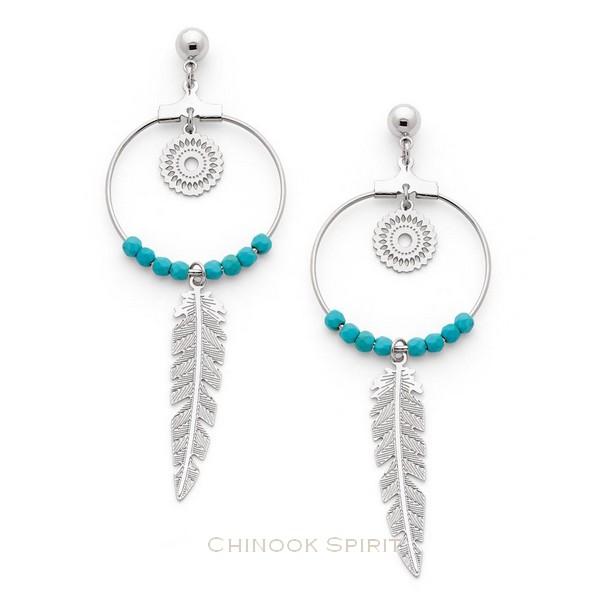 Boucles oreilles creoles acier et turquoise Chinook spirit